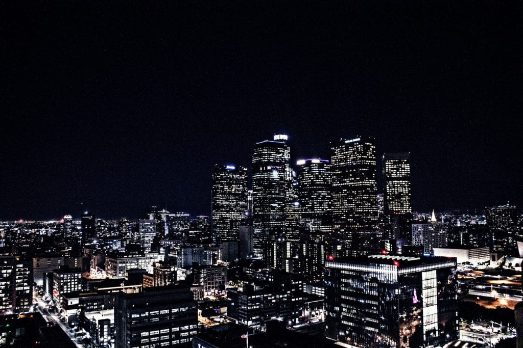 A photo of the skyline of Los Angeles at night